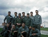 Anthony Alterio, Dan Pavlock, Sidney Lebowitz, William Baltrusaitis, Rudy Porter, Saverio Yacovone, Dale Robert, John McCusker, Melvin Graves, James Meece, ? French. From the John Sargent Collection, 3918th Supply Squadron, circa 1954. Submitted courtesy of John Sargent's son, Neil Sargent.