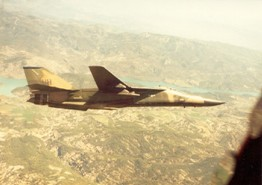 55th Tactical Fighter Squadron F-111E over Spain. Submitted by Kevin Olley, 20th TFW, 520th AGS, 55 AMU, blue section, 20 TFW, MAT DCC / ABDR training section. 1983 - 1986.