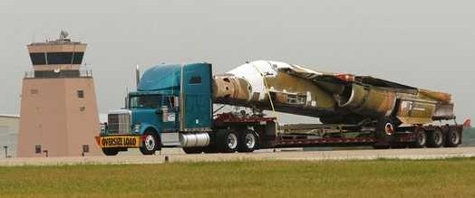 The OV-10 Bronco Association, which operates the memorial air park near Meacham Airport takes delivery of a  F-111E Aardvark produced by General Dynamics in Fort Worth about 1970, Monday May 5, 2008. When it is re-assembled it will be the only F-111 on display in Texas. (Star-Telegram/Rodger Mallison).