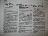Sky Kings Rumble Past Tigers 47-0. 11 August 1986. Submitted by Sgt Jerome Solomon, (2130 Comm Squadron) RAF Croughton.