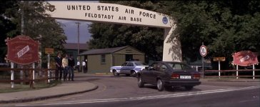 The facade of the base entrance was created by the movie-makers, as this part of the storyline takes place at a supposed USAF base in Germany.